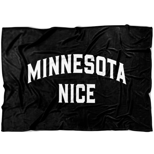 Minnesota Nice Block Fleece Blanket in Black and White