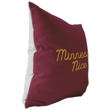 Minnesota Nice Script Pillow in Maroon and Gold Side