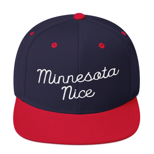 Minnesota Nice Snapback Cap in Navy and Red with White Script