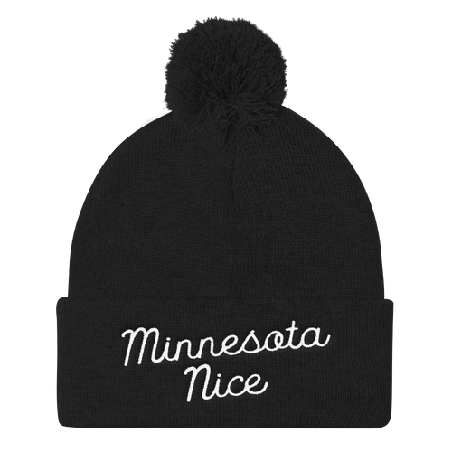 Minnesota Nice Script Pom Pom Knit Hat in Black