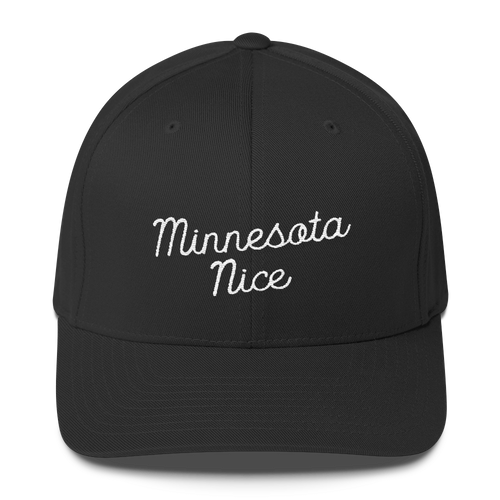 Minnesota Nice Flexfit Structured Cap in Black with White Script