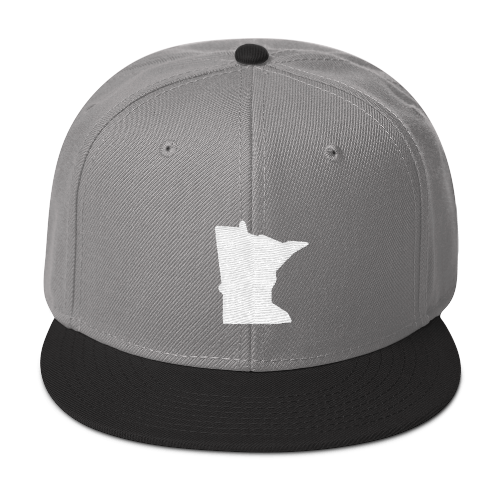 Minnesota Snapback Cap in Grey and Black