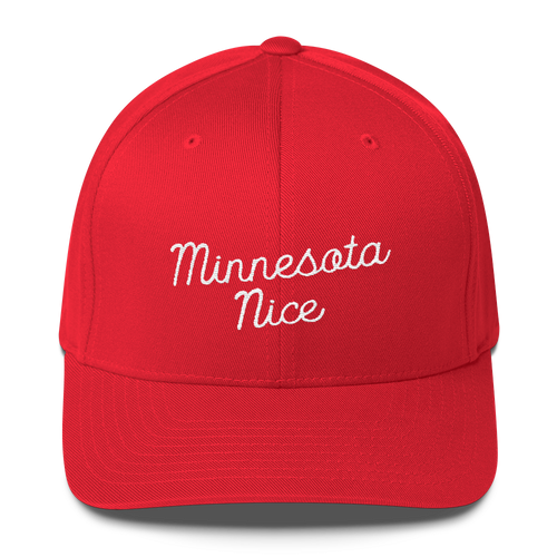 Minnesota Nice Flexfit Structured Cap in Red with White Script