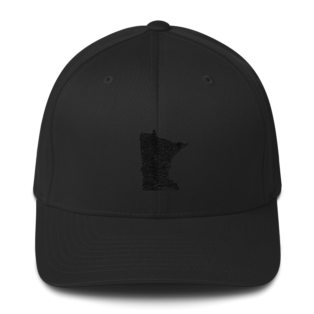 Minnesota Flexfit Structured Cap in Black and Black