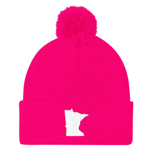 Minnesota Pom Pom Knit Hat in Pink
