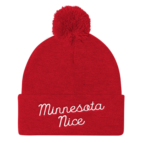 Minnesota Nice Script Pom Pom Knit Hat in Red