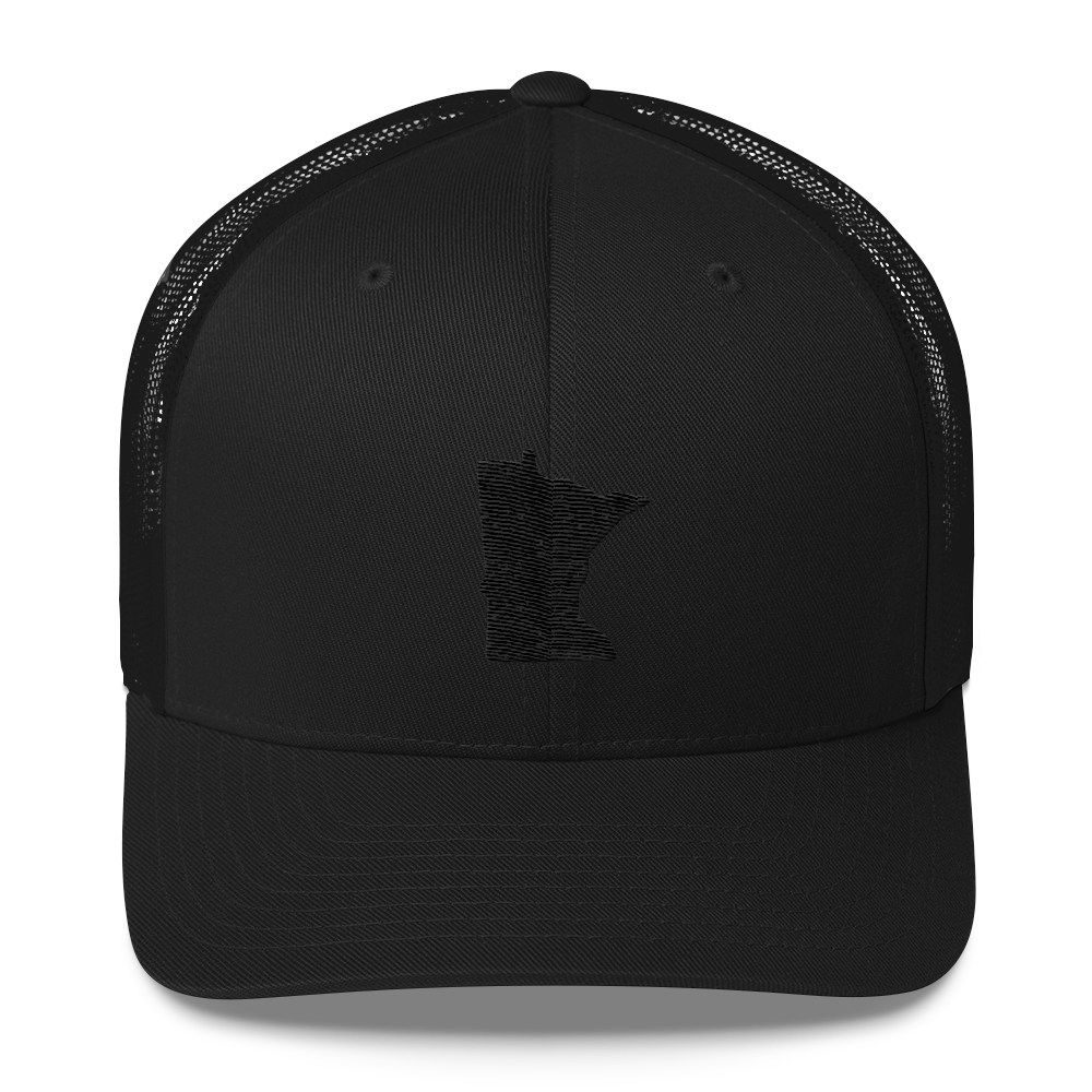Minnesota Trucker Cap in Black and Black