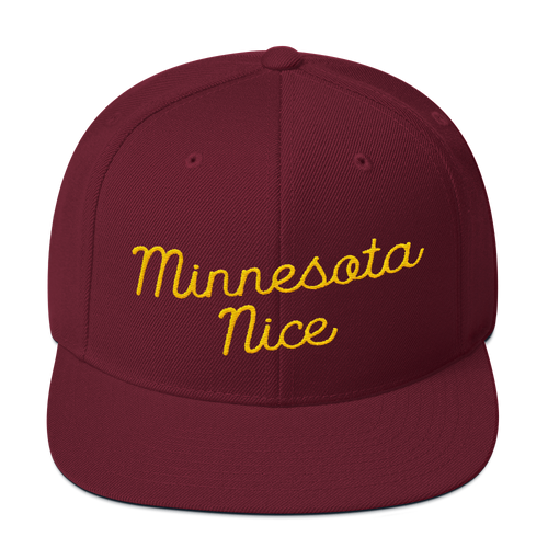 Minnesota Nice Snapback Cap in Maroon with Gold Script