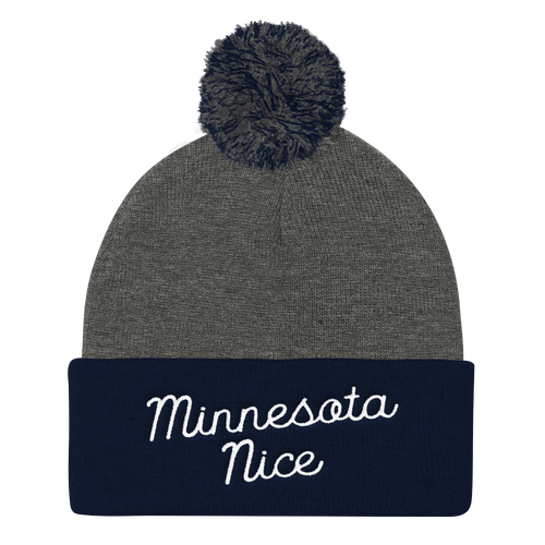 Minnesota Nice Script Pom Pom Knit Hat in Navy and Grey