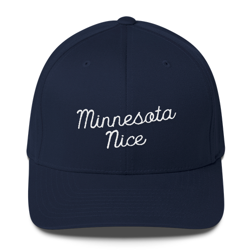 Minnesota Nice Flexfit Structured Cap in Navy with White Script