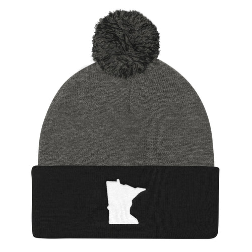 Minnesota Pom Pom Knit Hat in Black and Grey