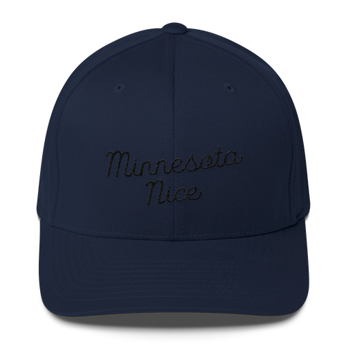 Minnesota Nice Flexfit Structured Cap in Navy with Black Script