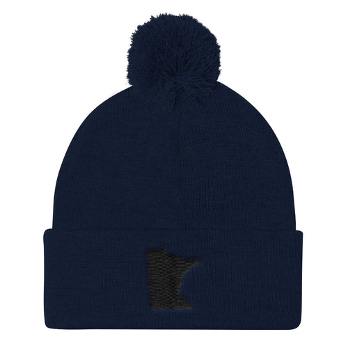 Minnesota Pom Pom Knit Hat in Navy
