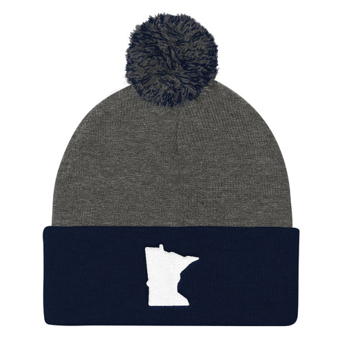 Minnesota Pom Pom Knit Hat in Navy and Grey