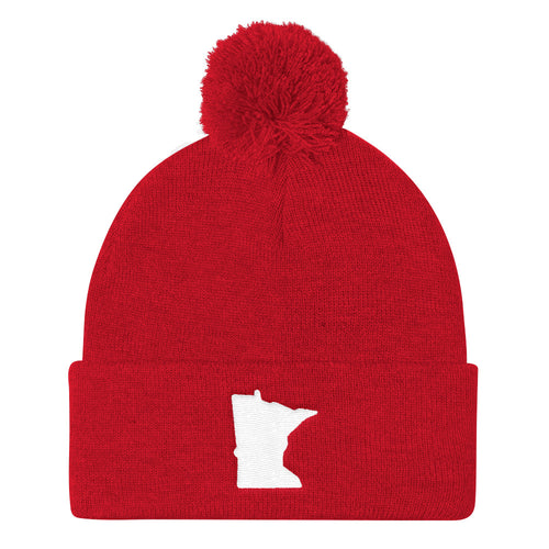 Minnesota Pom Pom Knit Hat in Red