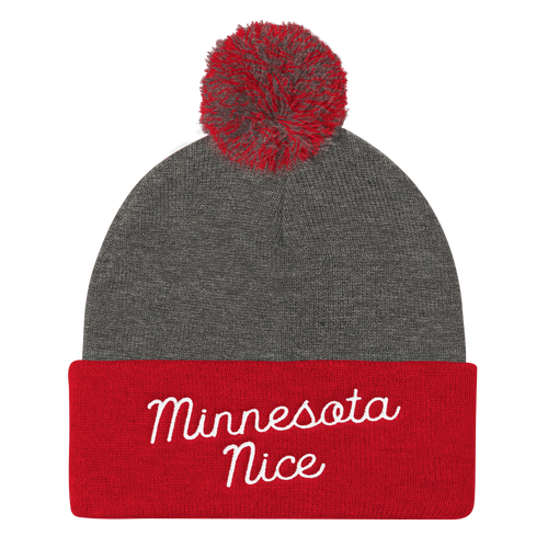 Minnesota Nice Script Pom Pom Knit Hat in Red and Grey