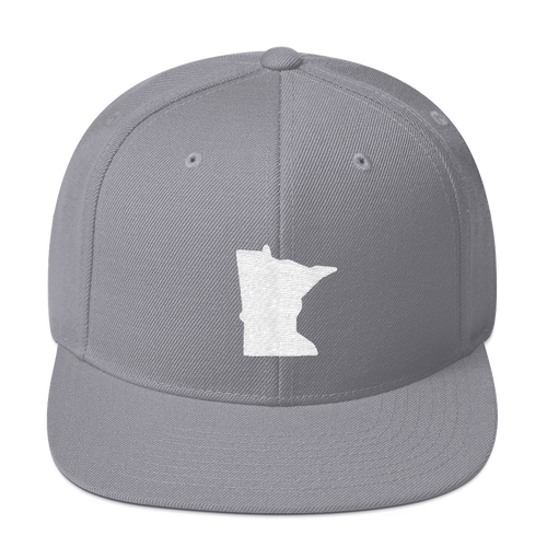 Minnesota Snapback Cap in Silver and White