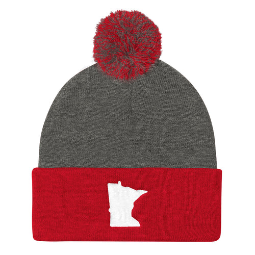 Minnesota Pom Pom Knit Hat in Red and Grey