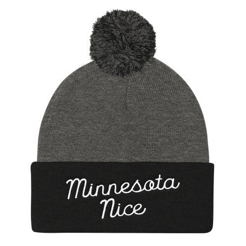 Minnesota Nice Script Pom Pom Knit Hat in Black and Grey