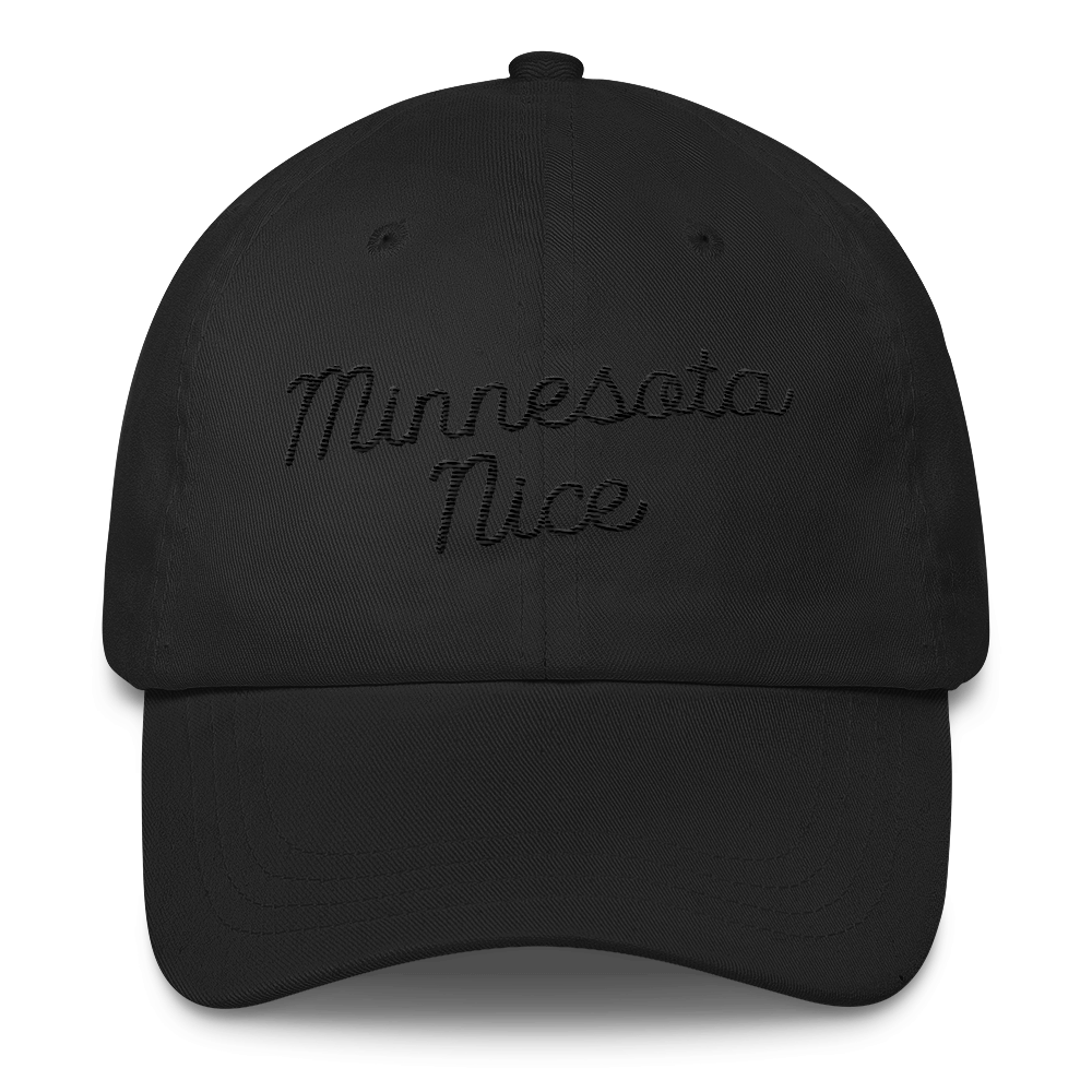 Minnesota Nice Unstructured Cap in Black with Black Script