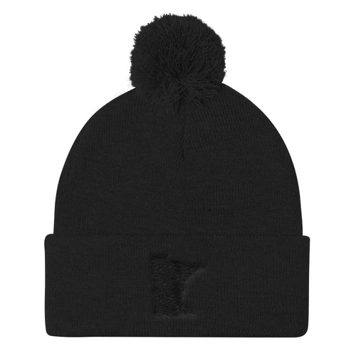 Minnesota Pom Pom Knit Hat in Black