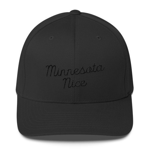 Minnesota Nice Flexfit Structured Cap in Black with Black Script