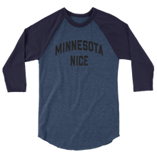 Minnesota Nice Block 3/4 Sleeve Baseball Shirt in Heather Denim and Navy
