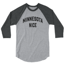 Minnesota Nice Block 3/4 Sleeve Baseball Shirt in Heather Grey and Heather Charcoal