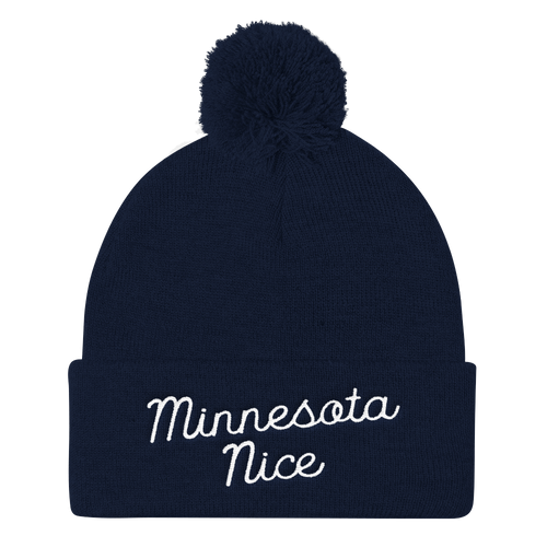 Minnesota Nice Script Pom Pom Knit Hat in Navy