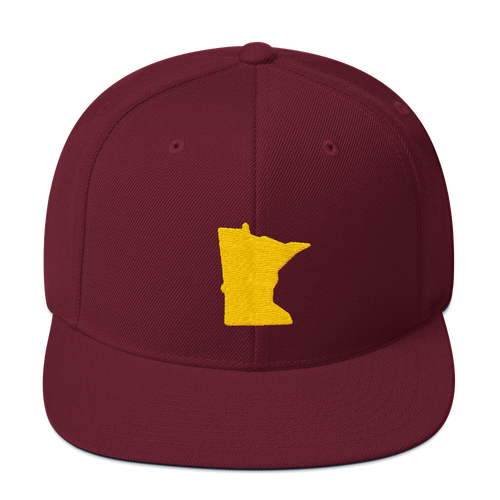 Minnesota Snapback Cap in Maroon and Gold