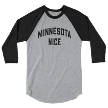 Minnesota Nice Block 3/4 Sleeve Baseball Shirt in Heather Grey and Black