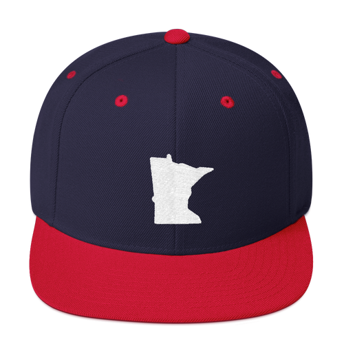 Minnesota Snapback Cap in Navy and Red with White