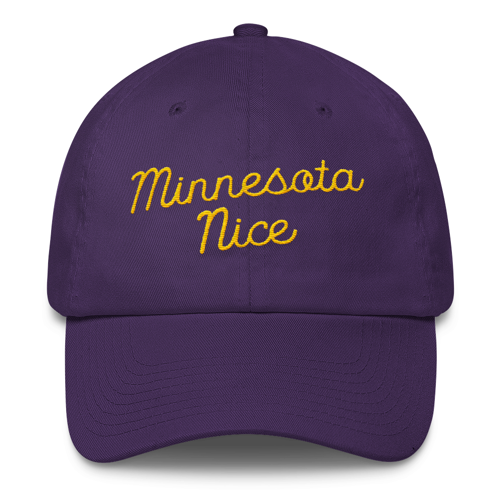 Minnesota Nice Unstructured Cap in Purple with Gold Script