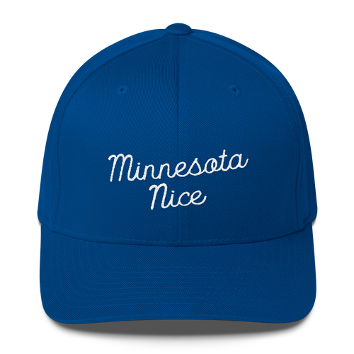 Minnesota Nice Flexfit Structured Cap in Royal Blue with White Script
