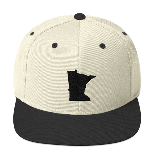 Minnesota Snapback Cap in Natural and Black