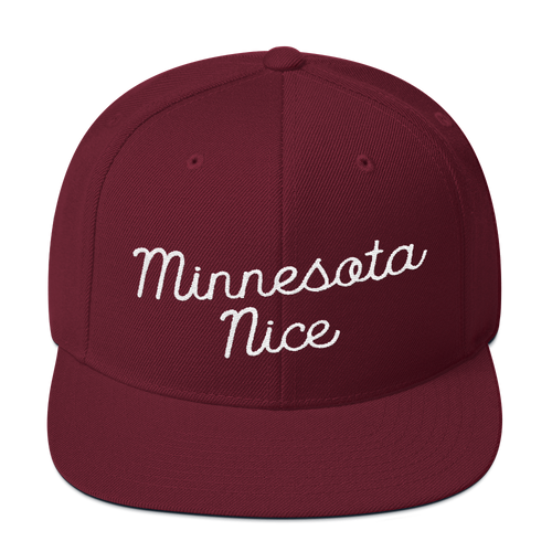 Minnesota Nice Snapback Cap in Maroon with White Script