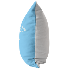 Minnesota Nice Script Pillow in Baby Blue and White Side View
