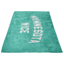 Minnesota Nice Block Fleece Blanket in Mint and White Side View
