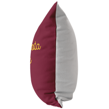 Minnesota Nice Script Pillow in Maroon and Gold Side View