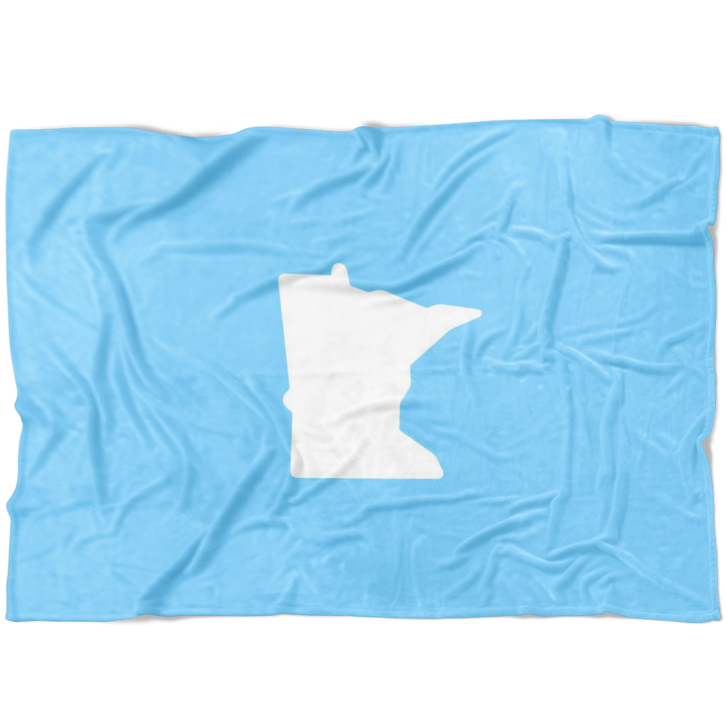 Minnesota Fleece Blanket in Baby Blue and White