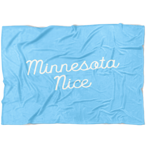 Minnesota Nice Script Fleece Blanket in Baby Blue and White