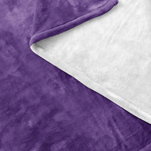Minnesota Fleece Blanket in Purple and White Up Close