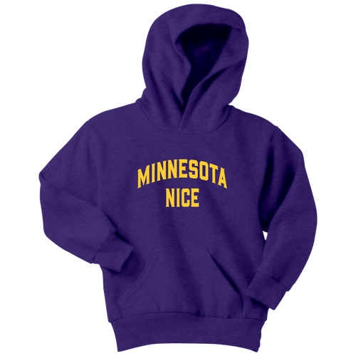 Minnesota Nice Block Youth Hoodie in Purple and Gold