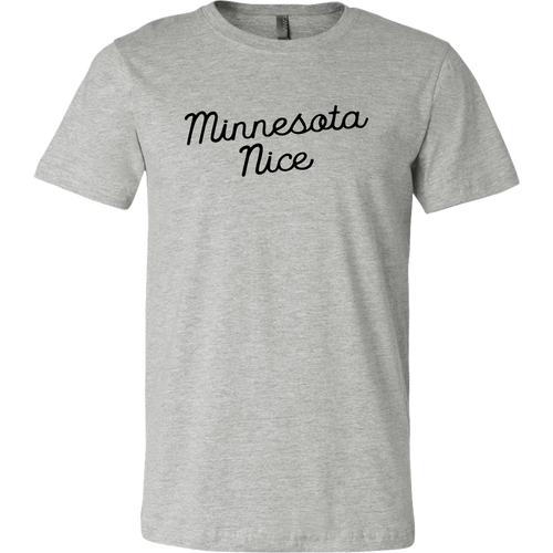 Minnesota Nice Script Men's Tee in Heather Grey