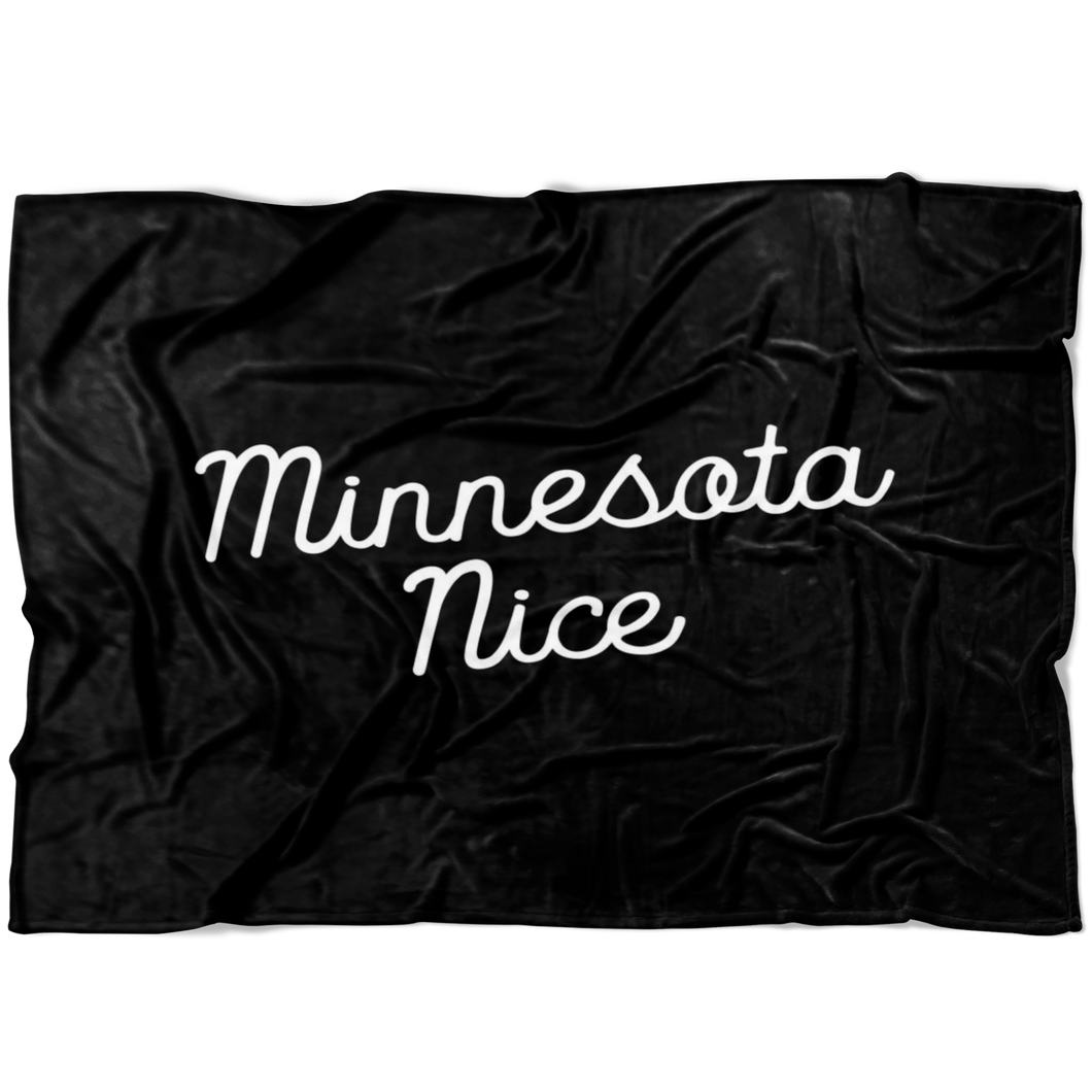 Minnesota Nice Script Fleece Blanket in Black and White