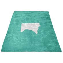 Minnesota Fleece Blanket in Mint and White Side View