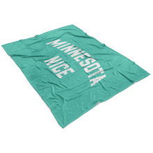 Minnesota Nice Block Fleece Blanket in Mint and White View
