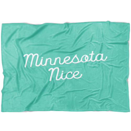 Minnesota Nice Scrip Fleece Blanket in Mint and White