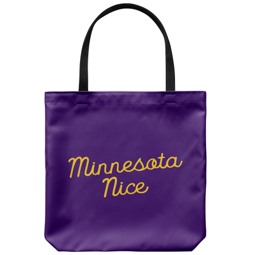 Minnesota Nice Script Tote Bag in Purple and Gold