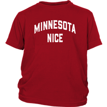 Minnesota Nice Block Youth Tee in Red